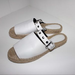 Rebecca Minkoff White Leather Espadrille Slide